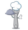 chef with food fork character cartoon style vector image vector image