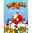 christmas and new year greeting card with santa vector image vector image