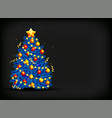 christmas tree with glowing decoration vector image