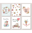 collection 6 cute romantic universal cards vector image vector image