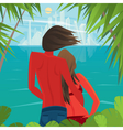 Couple on the island looking at a big city far vector image vector image