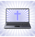 cross and laptop vector image vector image