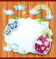 easter background with label and easter egg vector image
