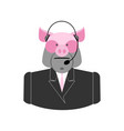 farm call center pig with headset swine operator vector image vector image