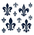 French fleur-de-lis heraldic symbols and flowers vector image vector image