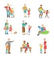 Grandparents And Kids Spending Time Together Set vector image vector image