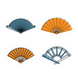 hand fan icon set color outline style vector image vector image
