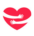 hands embracing red heart with love vector image vector image
