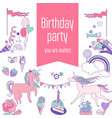 happy birthday card with runicorn cake sweets vector image vector image