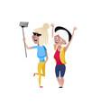 happy mature women doing selfie character vector image vector image