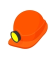 Helmet with a flashlight cartoon icon vector image