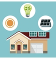 house traditional residence with solar panel-icons vector image