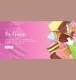 ice cream shop banner horizontal cartoon style vector image vector image