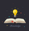 knowledge open book with shining bulb flying out vector image