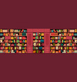 library bookshelves wall vector image vector image