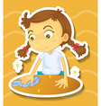 Little girl cleaning the table vector image vector image