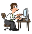 Man is working on the computer vector image