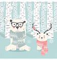 Merry Christmas postcard with two polar bears vector image vector image