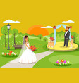 outdoor wedding ceremony party flat vector image
