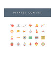 pirates icon set with colorful modern flat style vector image vector image