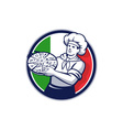 Pizza Chef Holding Pizza Italy Flag Circle Retro vector image vector image