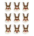 reindeer christmas icons set moving deer vector image vector image