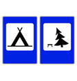 roadsigns on the white camping vector image vector image