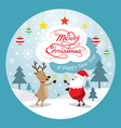 Santa Claus and Reindeer Drinking Champagne Label vector image vector image