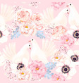 seamless pattern with flowers and doves vector image