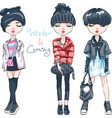 set fashion girl in winter clothes vector image vector image