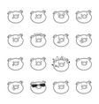 set of emoticon icons emoji pigs for coloring vector image