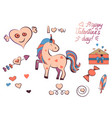 set of valentine s day elements isolated on white vector image