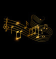 sketch golden musical sound wave with music vector image vector image
