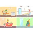 spa salon reception and depilation set vector image vector image
