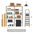 Storeroom interior on white background vector image vector image