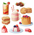 strawberry dessert collection vector image vector image