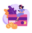 teenage girl managing finances and assets at phone vector image vector image