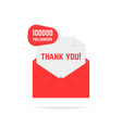 thank you for 100000 followers text in red letter vector image vector image