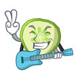 with guitar mascot slice cucumber to cook vector image