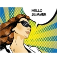 Woman in sunglasses with speech bubble vector image vector image
