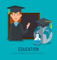 woman student graduation with chalkboard vector image