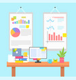 work environment with graphics or chart on walls vector image