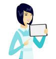 young asian cleaner holding tablet computer vector image vector image