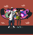 womanand man on background wall with graffiti vector image