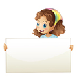 A girl holding a banner vector image vector image