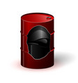 a red metal barrel with oil or other black liquid vector image vector image