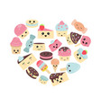 background with cute cakes background with cute vector image