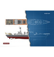 blueprint of military ship top and side view vector image vector image