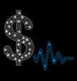 bright mesh 2d dollar signal with flash spots vector image vector image