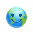 cartoon earth face happy smile icon funny planet vector image